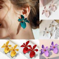 Fashion Retro Women White Green Flower Peony Stud Earrings Ladies Jewelry Gifts