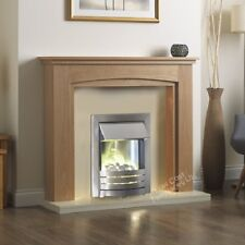 """ELECTRIC OAK CREAM IVORY SILVER FIRE PEBBLE WALL SURROUND FIREPLACE SUITE 48"""""""