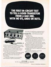 1971 Jud Williams Model A Transistor Curve Tester Vtg Print Ad