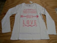 Old Navy Long Sleeve T-Shirt Knit Crew Neck Shirt SZ: 10/12 White W/Pink NWT