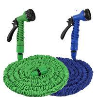 25/50/75/100FT Expanding Flexible Garden Watering Hose Car Washing Spray Nozzle