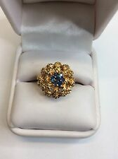 Sapphire Large Dome Gold Ladies 1980's Ring (J489)
