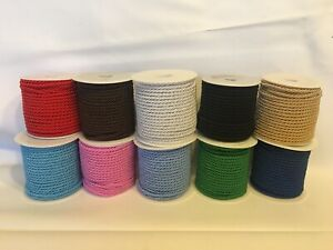 5 metres x 4mm Barley Twist Rope Cord Trimming Braid Piping Poly Viscose 10 cols
