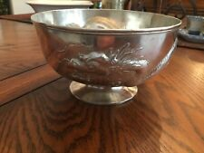 Oriental Sterling Silver Ornate Dragon Bowl Chinese 1890's  336 grams