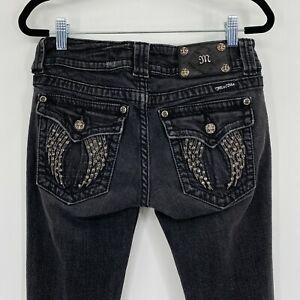 Miss Me Skinny Stretch Rhinestone Angel Wings Pocket Jeans Washed Black Size 28