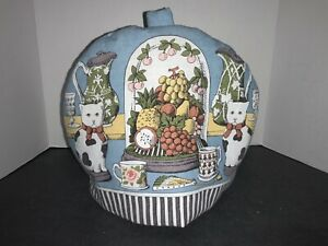 """Teapot Cozy With Cats Made in England by Cuckoobird - Padded 10""""H X 13.5'W"""