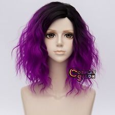 35cm Punk Black Mixed Purple Ombre Curly Heat Resistant Lolita Cosplay Hair Wig