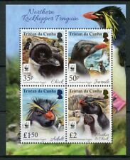 Tristan da Cunha 2017 MNH Rockhopper Penguins WWF 4v M/S Birds Penguins Stamps
