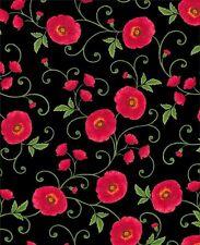 Red Black Poppy Grove Chong-a Hwang Timeless Treasures Floral Fabric 1/2 Yard