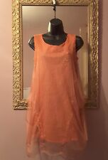 Save The Queen Coral Sheer Mesh with overlay Dress Size Small ~fit 10/12~ new 🔱