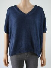 Massimo Dutti Blue 100% Linen Relaxed Fit Short Sleeve V Neck Jumper - S