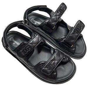 NIB Chanel 2021 Dad Black leather sandals 38 EUR size