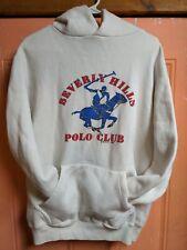 Vintage Beverly Hills Polo Club 1982 White Sweatshirt Hoodie Blue Polo Rider Xl