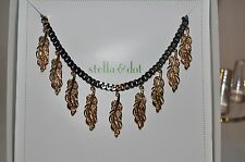 stella & dot Secret Garden Cluster Necklace hematite chain and bronze leaves