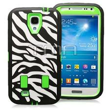 Samsung S4 i9500 Zebra Rugged Defender Shock Proof Case w/ Screen - Lime Green