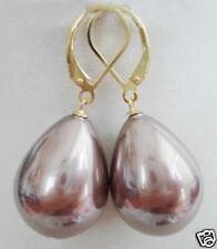 fashion tear drop lavender purple south sea shell pearl earrings