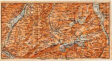 Carta geografica antica Old Map SVIZZERA Ghiacciaio Engelberg Obwald 1905