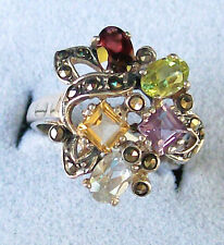 Multicolored Genuine Gemstones 925 Sterling Silver Ring Size 7