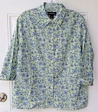 Charter Club Womens Shirt Cotton Button Down Blouse Size 10 Floral  3/4 Sleeve