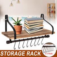 Wall Mount Kitchen Hanger Pot Rack Wall Mounted Pan Shelf Hanging Rack + 8 Hooks