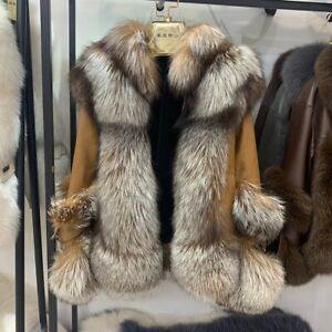 Women's Real Fur Coat Sheepskin Leather Jacket Winter Thick Outerwear Zip 33593