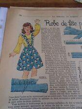 """ANCIEN PATRON POUR LA POUPEE """" BLEUETTE """" ROBE DE FËTE AVRIL 1947"""