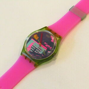 "Vintage SWATCH Watch ""Rush for Heaven"" 1989 GN105 STRAP SWAP NEON Hot Pink Green"