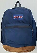 Vintage JanSport Student Backpack Navy Blue Zipper Leather Bottom Clean