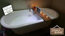 Bespoke reclaimed wood 75cm bath buddy shelf candle wine tablet holder