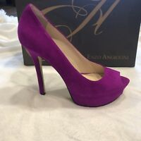 Enzo Angiolini Eatanen Heels 7 M Dark Pink Suede Leather Pumps Shoes Violet Peep