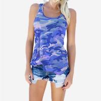 Ladies Women's Camouflage Army Sleeveless Vest Top T-Shirt Plus