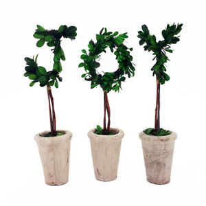 """NEW! 13"""" REAL PRESERVED BOXWOOD DECORATIVE MONOGRAM LETTERS WITH TERRA COTTA POT"""