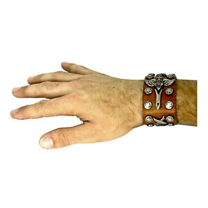Adult Teen Star Studded Leather Wristband Black Brown Rock Metal Punk Emo Goth