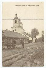 Pinsk Belarus postcard Petersburger Strasse mit Soborkirche (205)