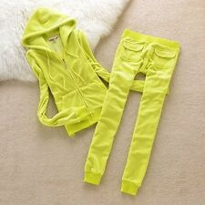 YELLOW Women's-Juicy-Couture-Size M-Velour-Sweatsuit-Tracksuit-USA Seller