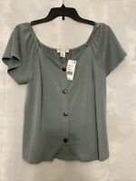 MONTEAU Women's Blouse Sage Green Top Blouse Button Down Petite MEDIUM PM Shirt