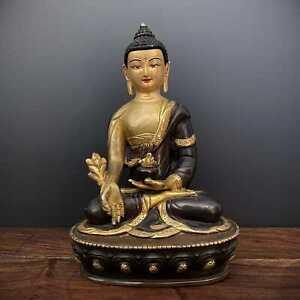 Medizin Buddha Figur Bhaisajyaguru feuervergoldete Statue Nepal AsienLifeStyle
