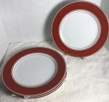 "Fitz & Floyd Rondelet Terra Cotta 10 3/8"" Dinner Plates Set of 4 Euc"