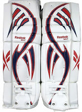 Reebok Larceny L9 hockey goalie leg pads intermediate 30+1 red blue new goal pad