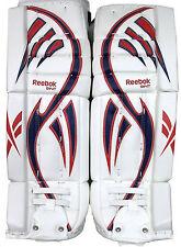 Reebok Larceny L9 hockey goalie leg pads intermediate 30+1 red blue new goal pad