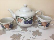 Staffordshire Tableware Plums & Flowers Tea Set Tea Pot Milk Jug Sugar Bowl