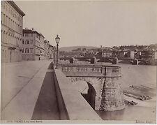 Florence Firenze Lung' Arno Nuovo Italie Italia Vintage albumine ca 1880