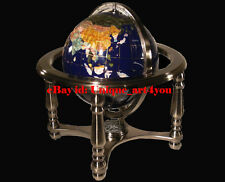 """10"""" Tall Table Top Blue Lapis Ocean Gemstone World Globe with 4 leg Silver stand"""