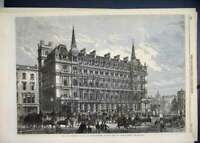 Original Old Antique Print 1867 Terminus Hotel South Eastern Railway Station