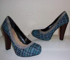 Jessica Simpson Blue Tweed /Gray Trim / Brown Animal Hair Heel Size 8 Pumps Shoe