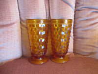 "Vintage Indiana Whitehall Cubist Footed 6"" Amber Glasses Set of 2"