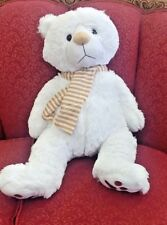 "24"" White  Teddy Bear With Scarf - NEW"