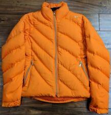 NIKE Goose Down Puffer Jacket Women SMALL 4-6 Coat Jacket Ski Winter Orange Gold