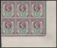1887 JUBILEE SG198 11/2d PURPLE & GREEN UNMOUNTED MINT 3rd SETTING BLOCK OF 6
