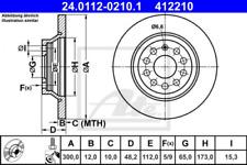 2x Bremsscheibe für Bremsanlage Hinterachse ATE 24.0112-0210.1